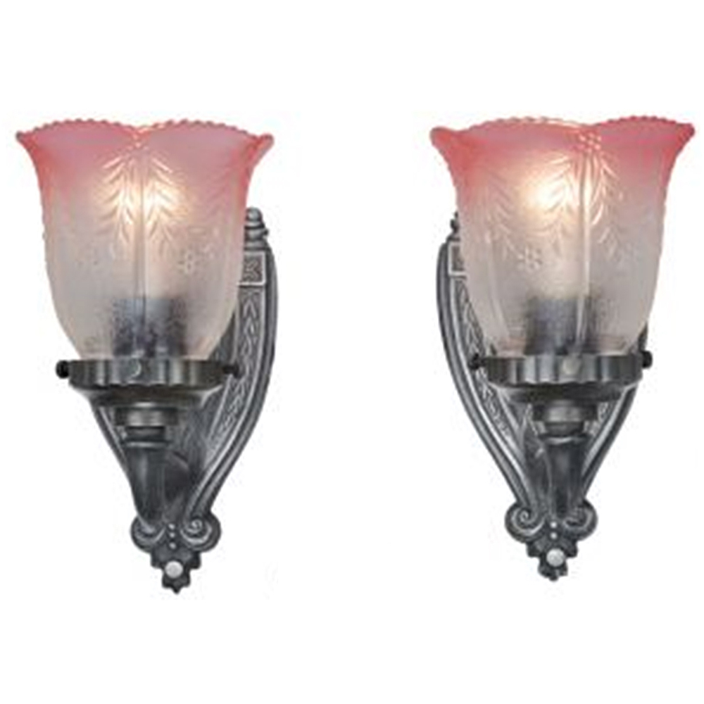 Lovely Pair of Circa 1920 Antique Wall Sconces w/ Pink