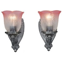 Lovely Pair of Circa 1920 Antique Wall Sconces w/ Pink ...