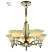 Art Deco Streamline Chandelier 5 Arm Light Fixture by Mid ...
