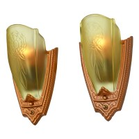 1930s Pair Art Deco Wall Sconces Glass Slip Shade Lights ...