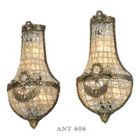 Antique French Wall Sconces Basket Style Crystal Lights ...