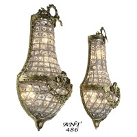 Antique French Basket Style Crystal Wall Sconce Lights
