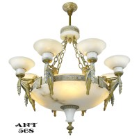 Art Deco Grand Alabaster Bowl Chandelier Antique Eight ...