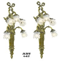 Antique French Wall Sconces Pair of Large 5 Arm Floral ...