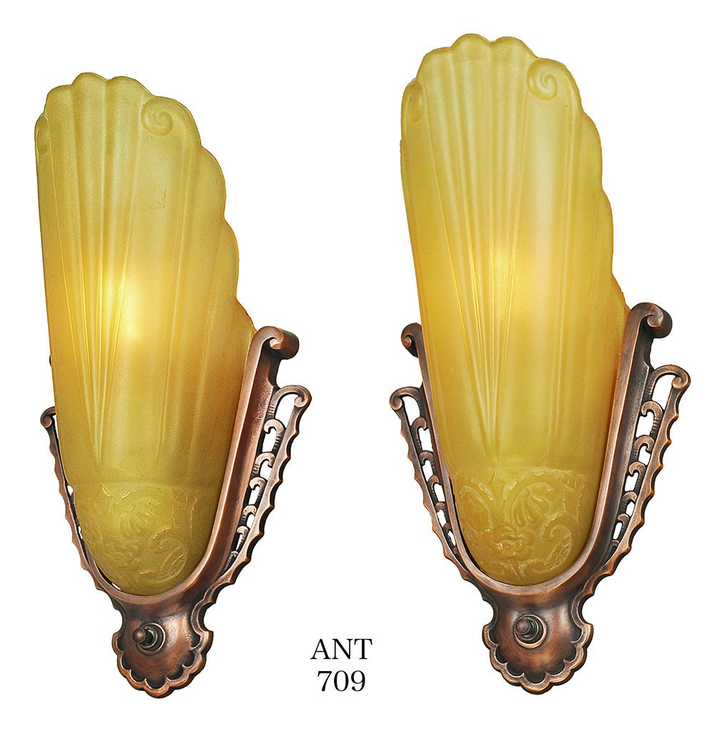 Antique Art Deco Wall Sconces Pair of Virden Slip Shade