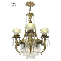 French Crystal Chandelier Antique 4 Arm Figural Ceiling ...
