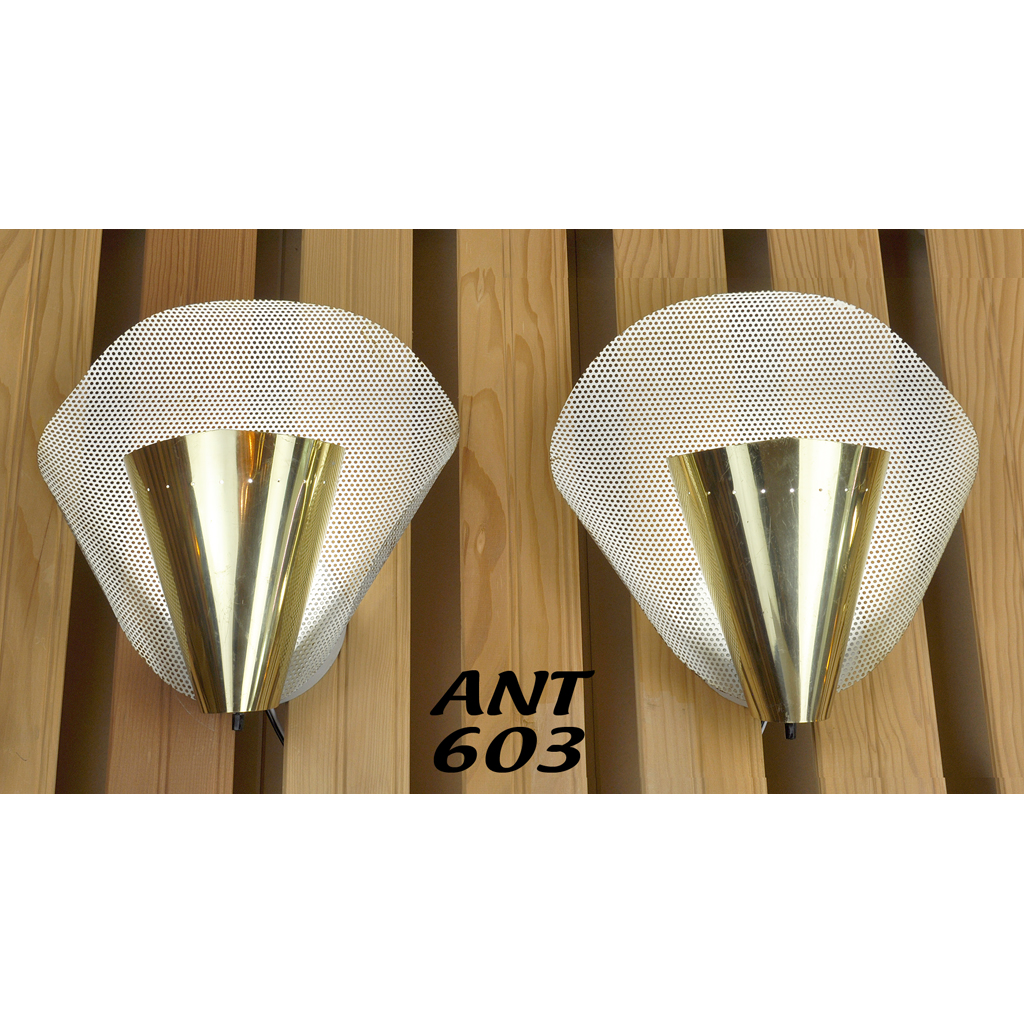 MidCentury Modern Pair of Wall Sconces Vintage Abstract