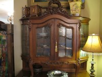 Antique French Buffet with Etched/Beveled Glass Cabinet