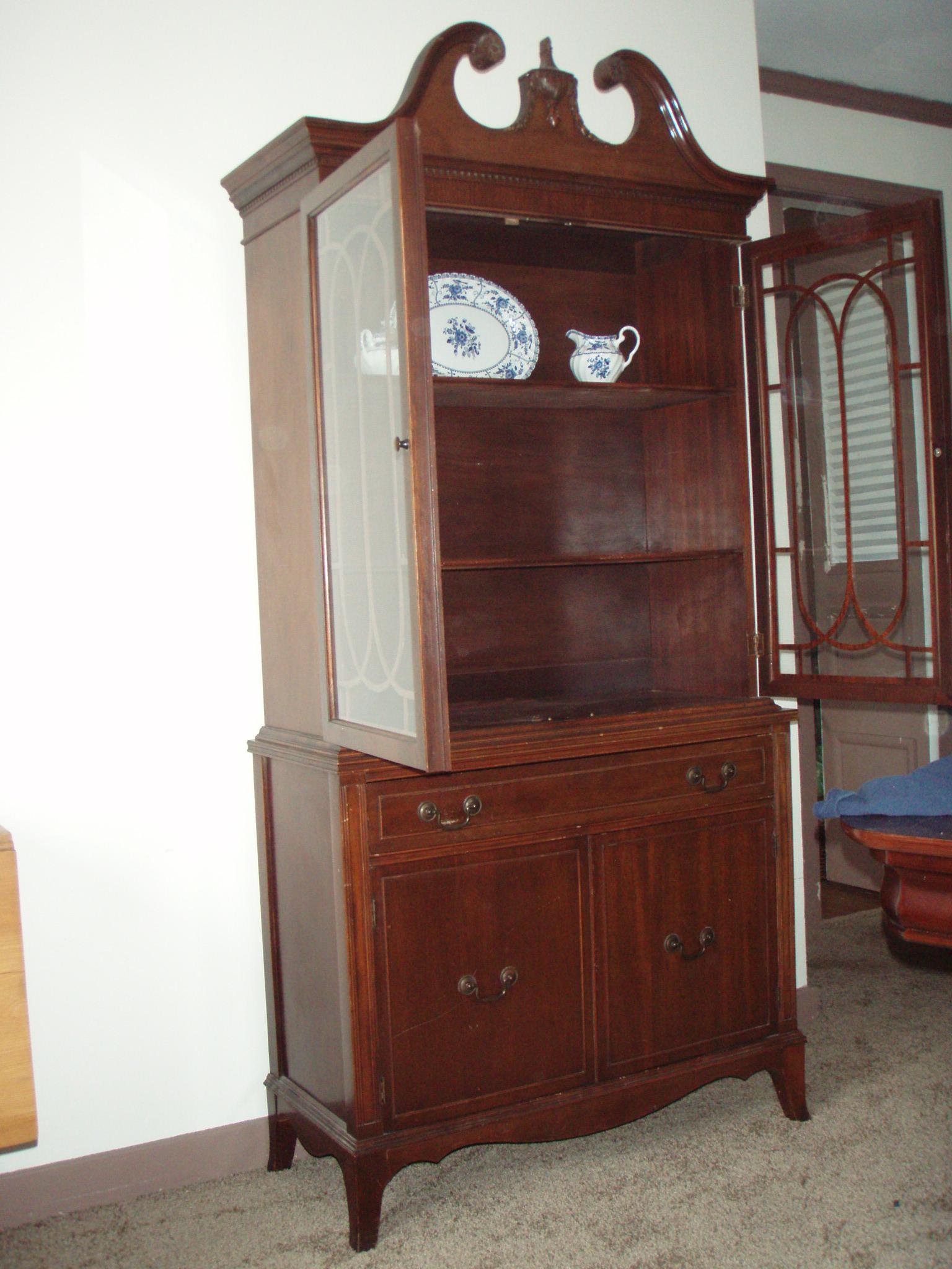 Vintage Mahogany China Cabinet For Sale  Antiquescom
