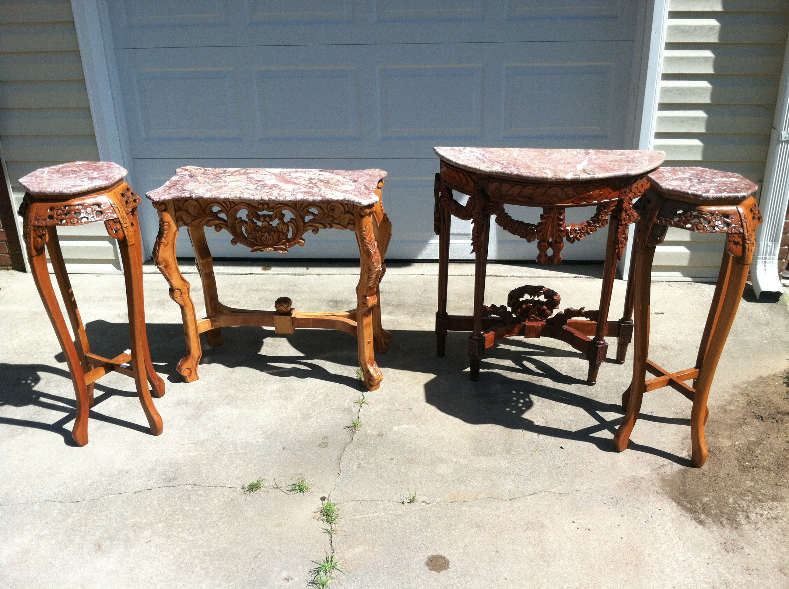 marble top table with 4 chairs outdoor bar chair piece hand carved for sale antiques