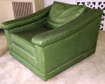 Vintage 1960s Luxury Lounge Chair Vinyl Green Color