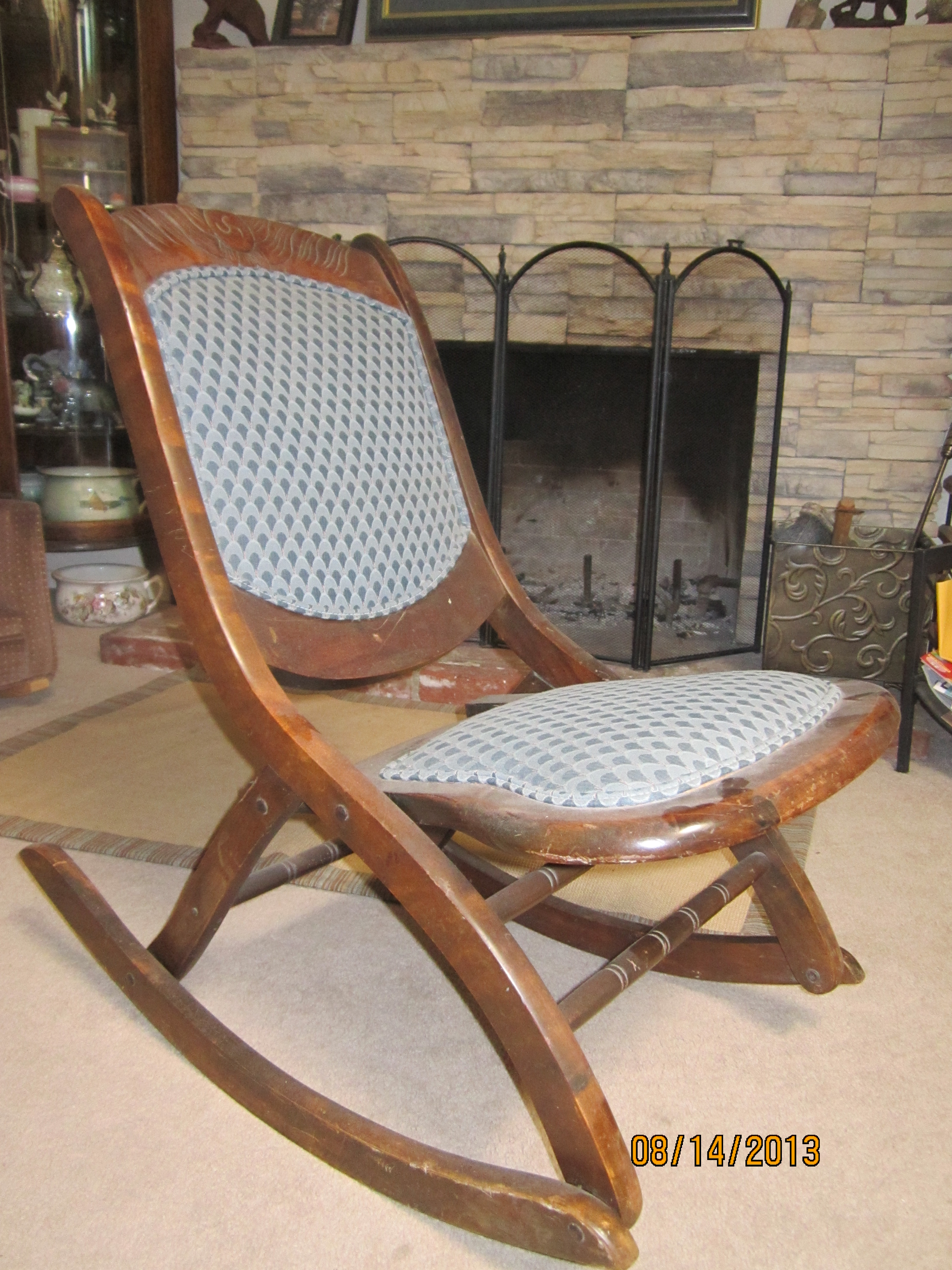 old fold up rocking chair out beach wooden sewing for sale antiques