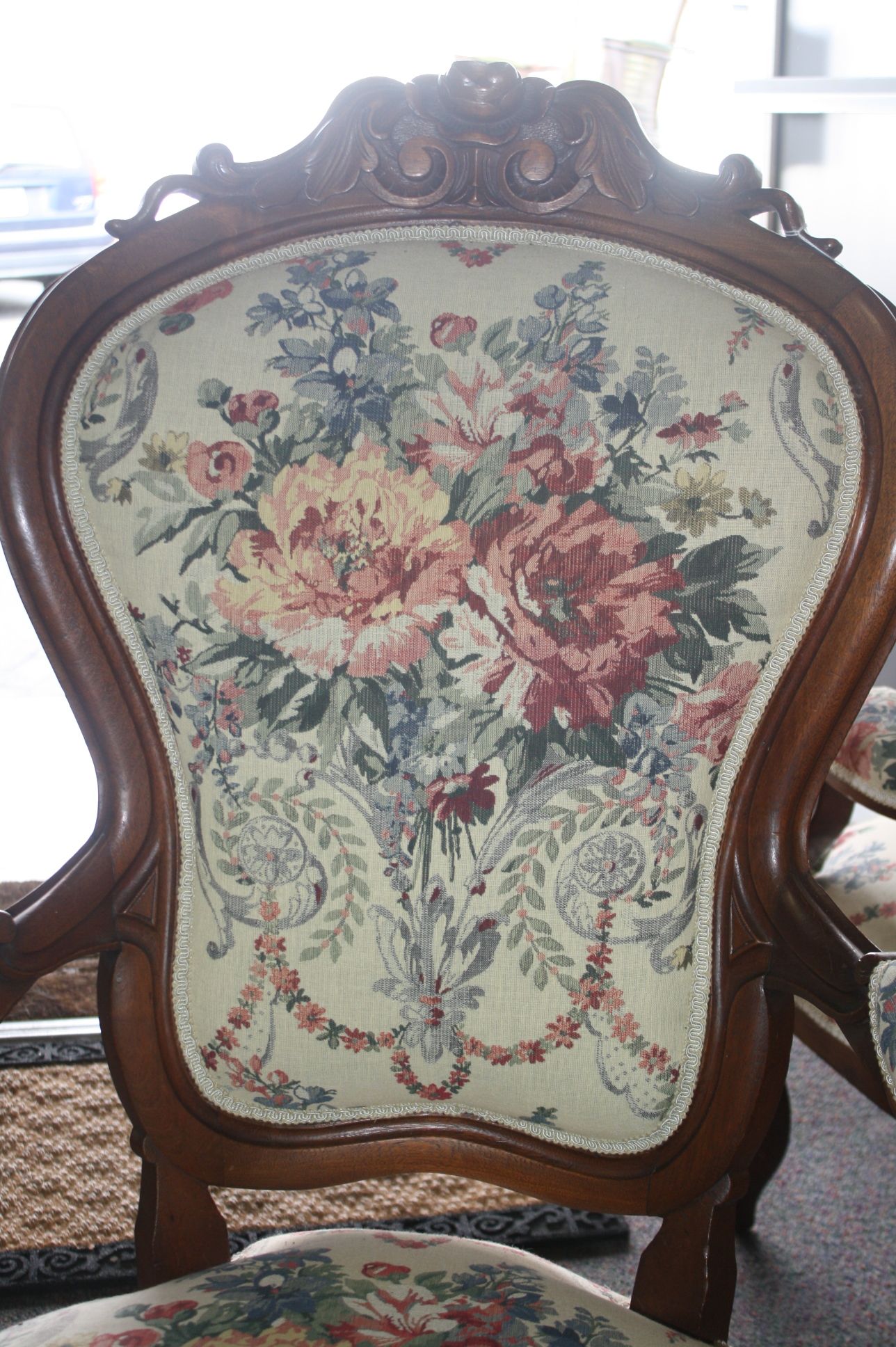 victorian parlor chairs oversized rocking chair exceptionally upholstered pair of