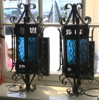 Unique, Beautiful, Spanish Style Blue Glass Outdoor ...