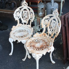 Antique Cast Iron Garden Table And Chairs Stacking Sling Chair Ornate Three Piece Set For Sale