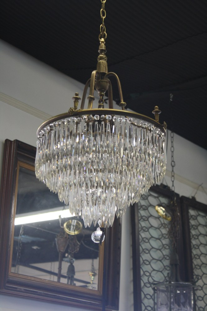 Beautifully Red Solid Brass Chandelier Holds 217 Heavy Leaded Top Quality Crystals In Five Concentric Rings Add The Center Ball And That Makes 218