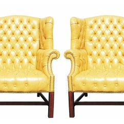 Tufted Yellow Chair Rail Molding Lowes Pair Of Wormley Style Wingback Chairs In Naugahyde For Sale