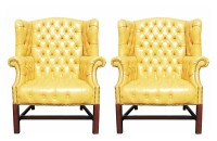 Pair of Wormley Style Wingback Chairs in Yellow Naugahyde ...