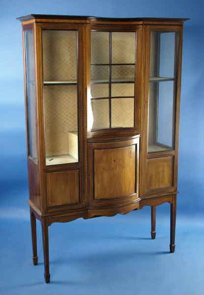 Antique Edwardian Mahogany Display Cabinet For Sale