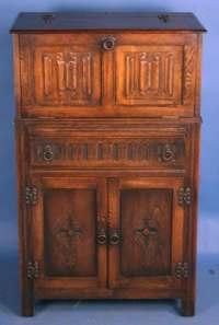 Antique Oak Jacobean Liquor Cabinet For Sale