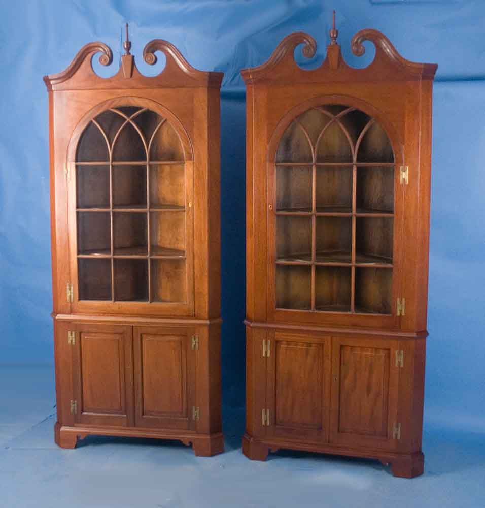 Pair Of Mahogany Corner Cabinets For Sale