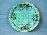 Majolica ribbon in basket plate For Sale