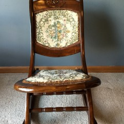 Antique Folding Rocking Chair Value Office With Footrest India Sewing W Victorian Tapestry