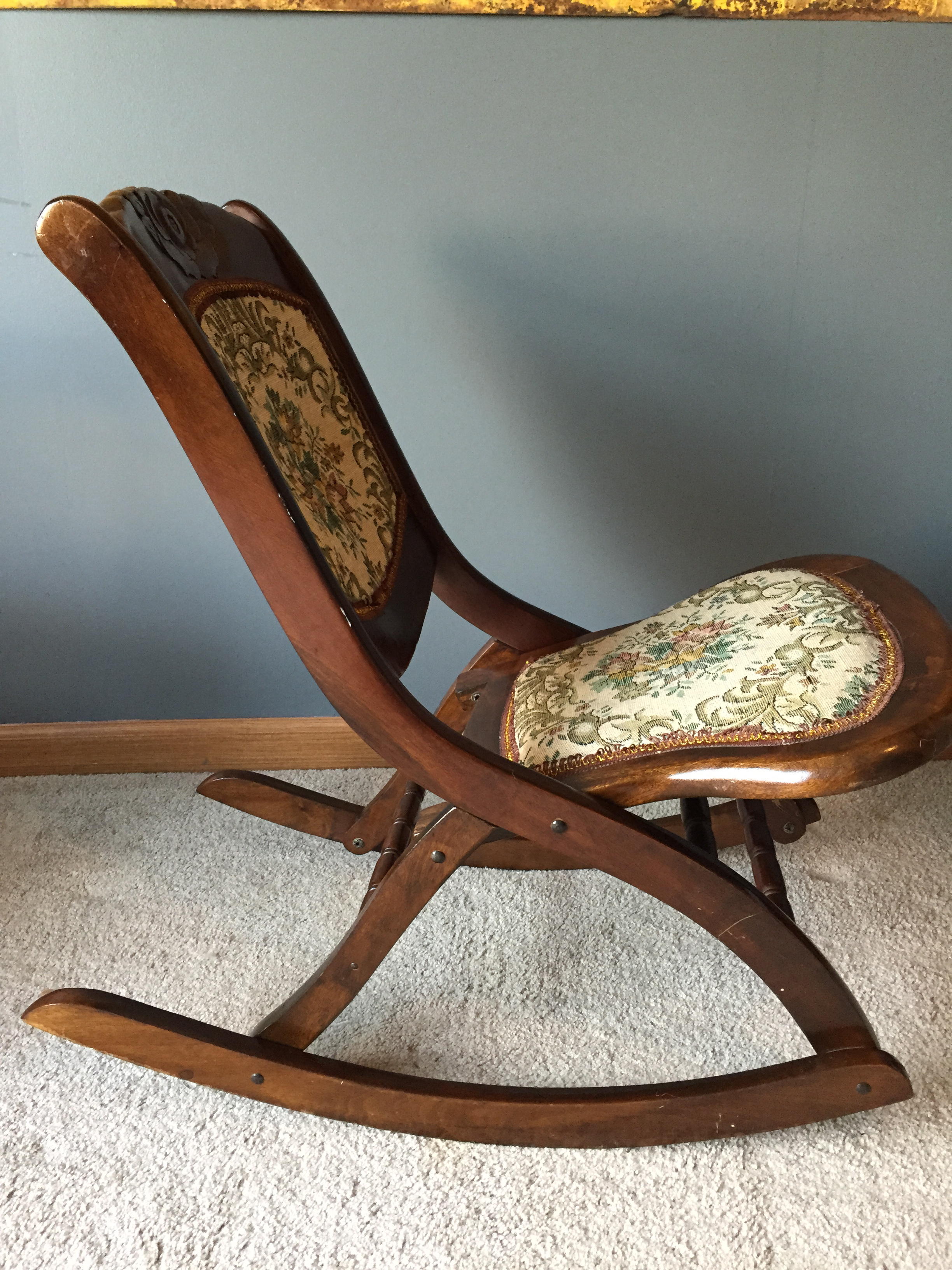 old fold up rocking chair wedding table and covers rental antique folding sewing w victorian tapestry