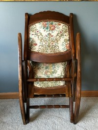 Antique Folding Rocking/Sewing Chair w/ Victorian Tapestry ...