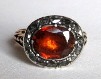 Georgian Spessartite Garnet & Diamond Ring For Sale