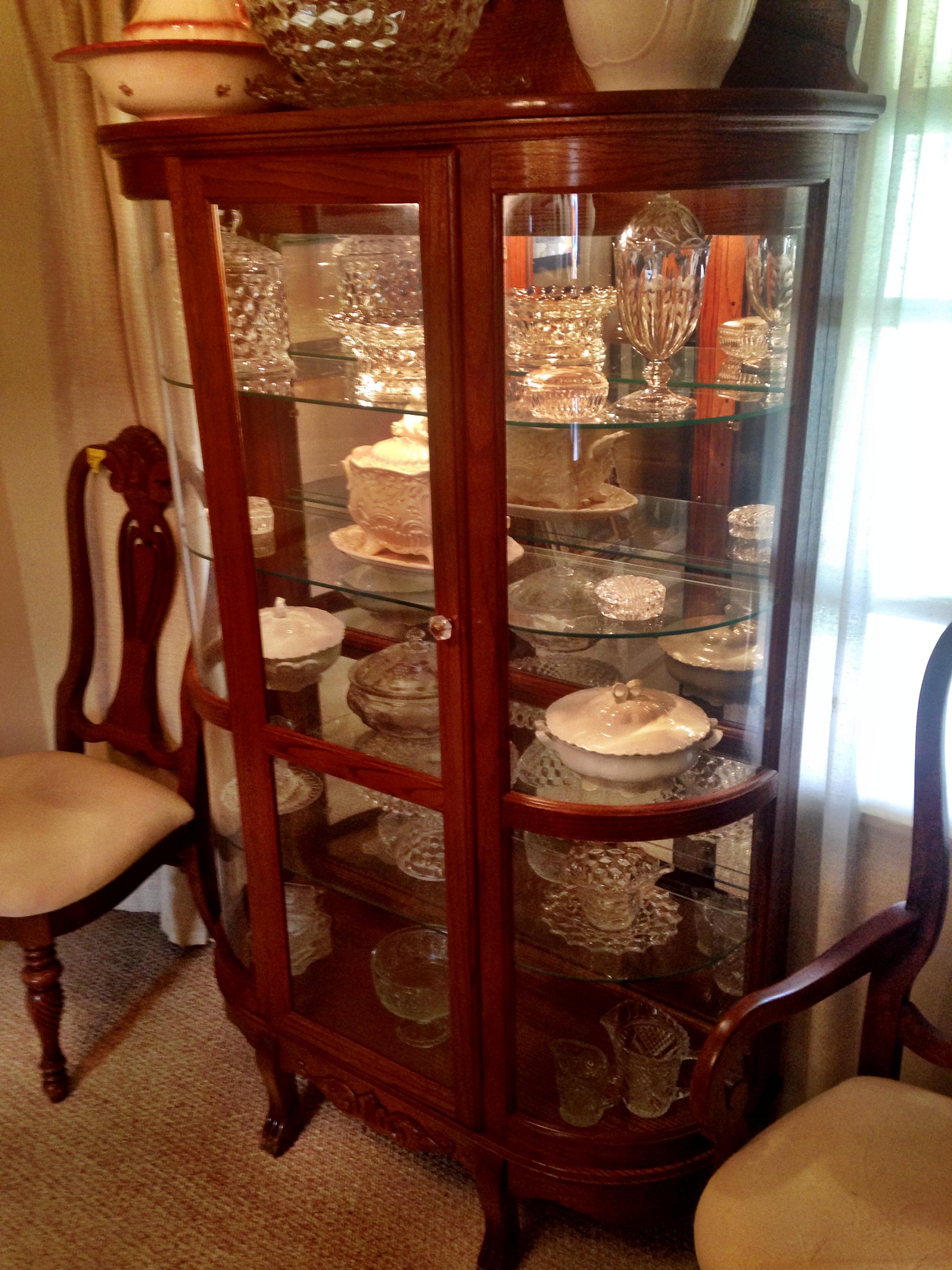 Triple Glass Curve China Cabinet For Sale  Antiquescom