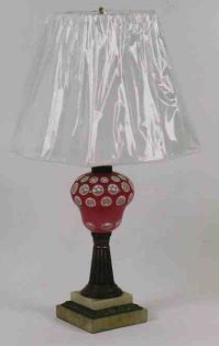 Superb 19th C American Sandwich Glass Double Overlay Lamp ...