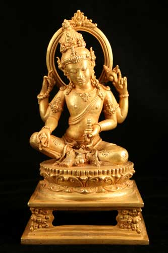 Gold Sculpture of Four-Armed Hindu Deity - CK.0593 For Sale   Antiques.com   Classifieds