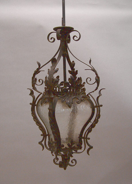 French Belle Epoch Style Wrought Iron Porte Cochere Or Portico Lantern Circa 1920 Scroll And Twist Frame With Tin Foliate Liques