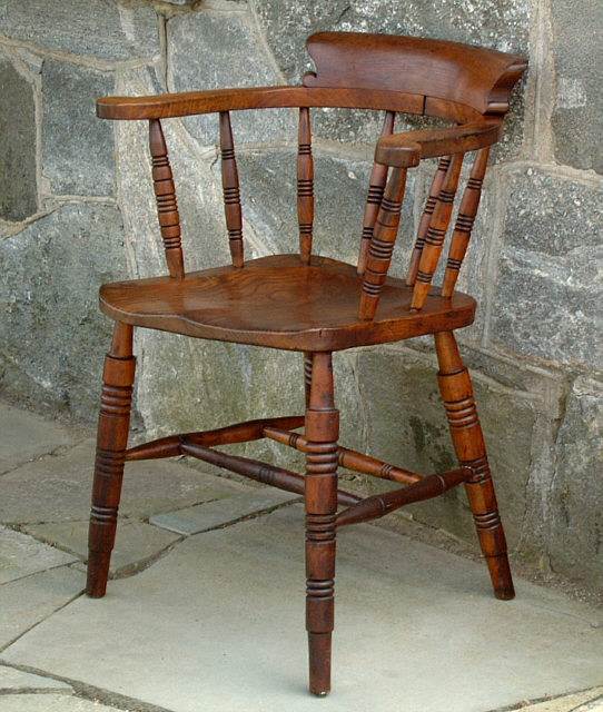 antique windsor chair identification purple tufted low bow back smokers arm item 2876 for armchair this measures 16 and three quarter inches on the seat to