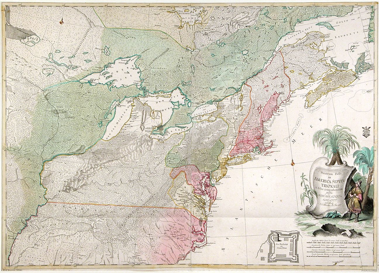 Superb 18th C French Amp Indian War Map Of North America