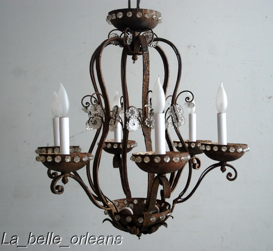 FRENCH WROUGHT IRON AND CRYSTAL JANSEN CHANDELIER For Sale