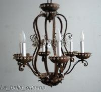 FRENCH WROUGHT IRON AND CRYSTAL JANSEN CHANDELIER For Sale ...