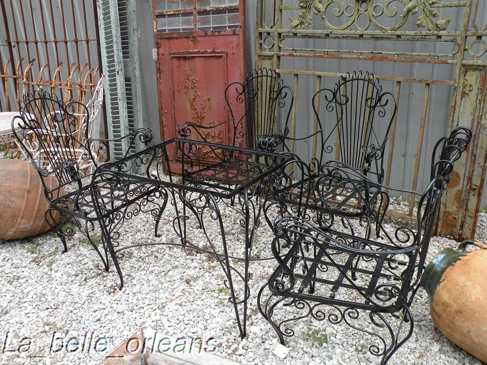 vintage wrought iron table and chairs grey dining charming french garden set 4chairs for sale