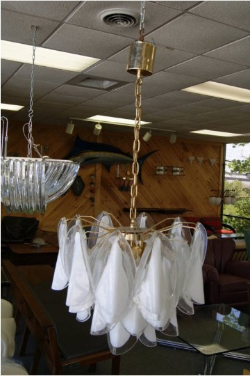 Vintage Murano Clear White Chandelier For