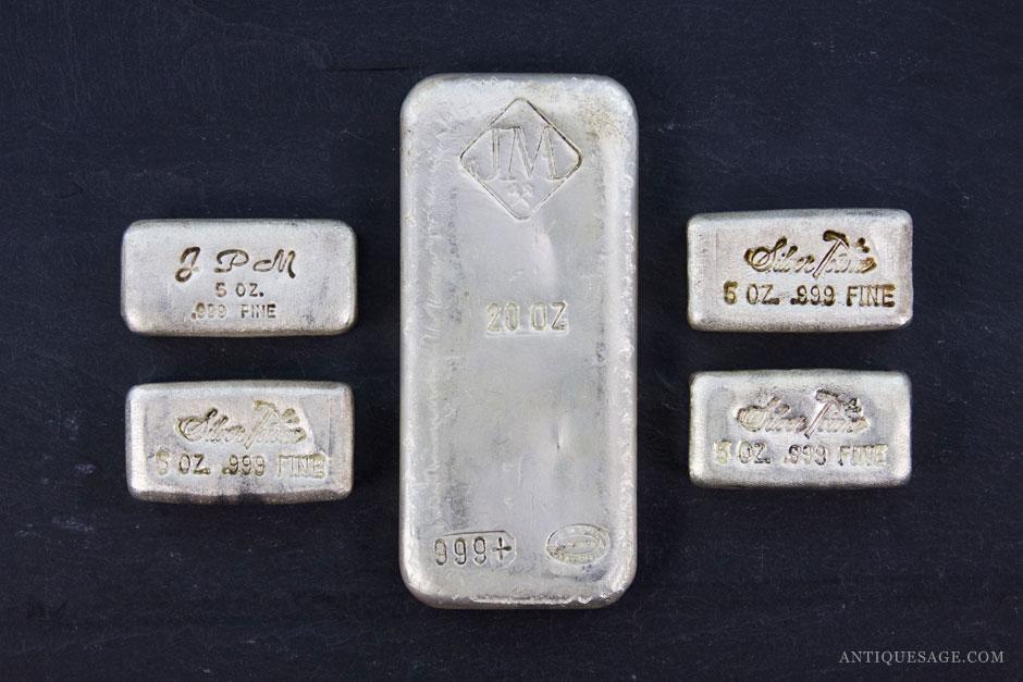 Stacked Wealth Vintage Silver Bullion Bars Antique Sage