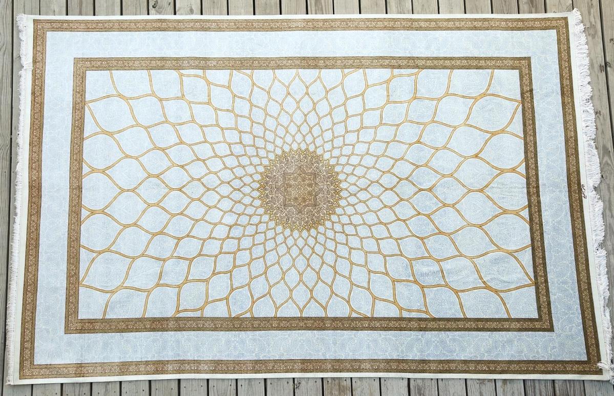 5897699 Large Blue Ground Silk Carpet, Persian, Signed Maroof Mousavi