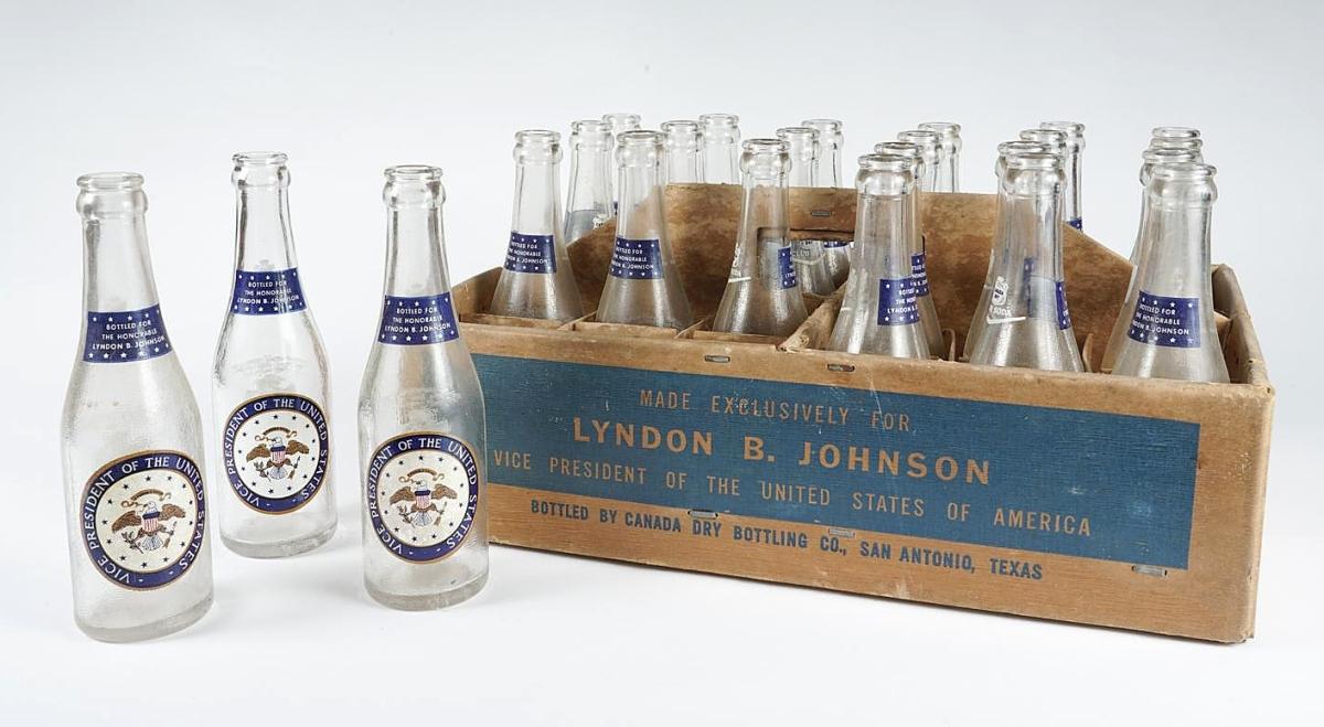 5898081 Set of 24 LBJ Commemorative Soda Bottles