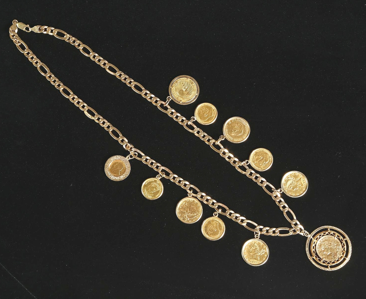 5898097 American and Other Gold Coin Mounted 14k Gold Necklace