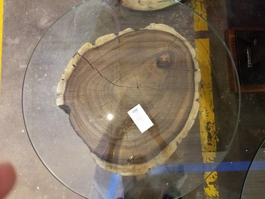 unique tree stump glass top table