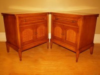 Antique WHITE FURNITURE Banded End Tables Nightstands ...