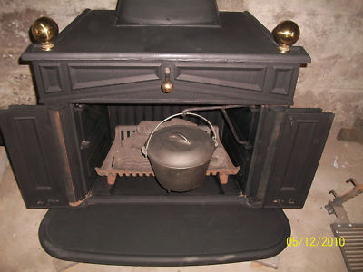 SEARS FRANKLIN ANTIQUE CAST IRON WOOD STOVE  FIREPLACE