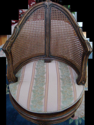 queen anne side chairs cherry dxracer king gaming chair review french louis xvi style caned cane swivel padded fabric seat completed