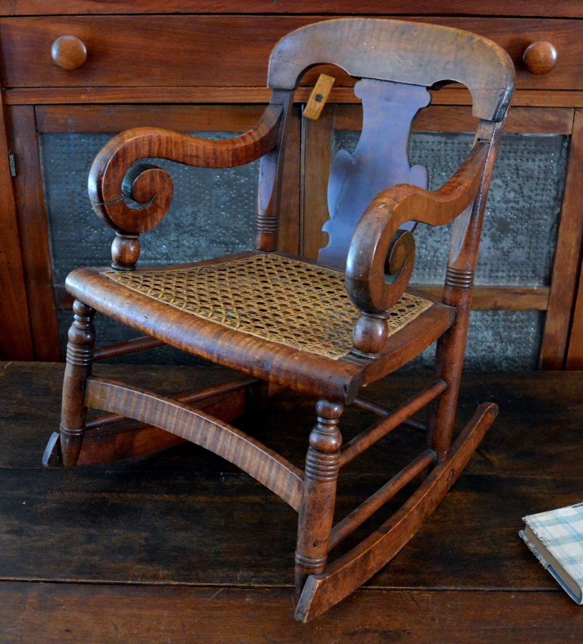 antique folding rocking chair value resin wicker childs rare 19th century tiger maple empire