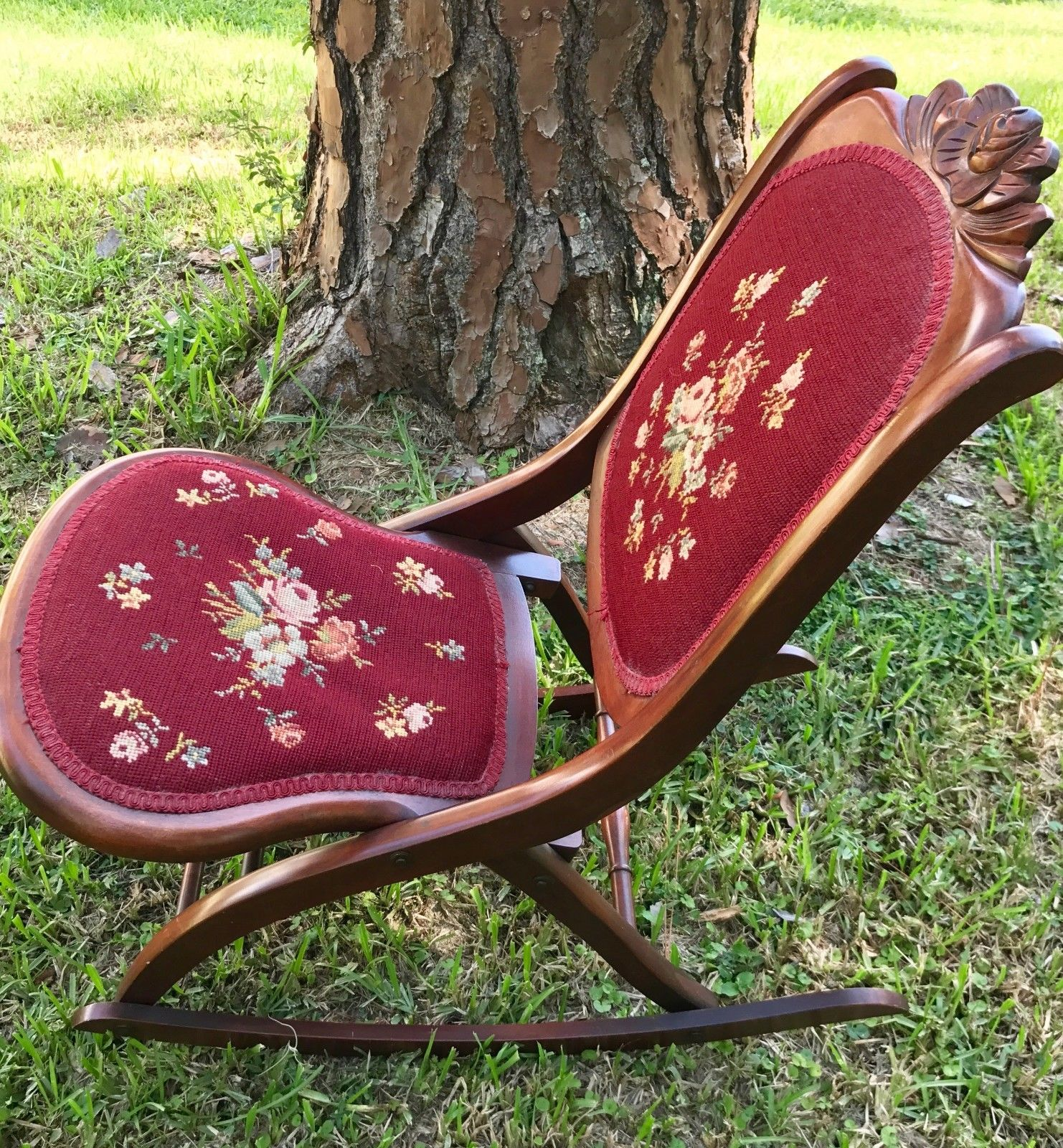 antique rocking chair price guide patio stacking chairs canada vintage victorian folding red tapestry padded seat